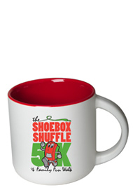 14 oz Sedona Mug - Matte White Out/Gloss Red In
