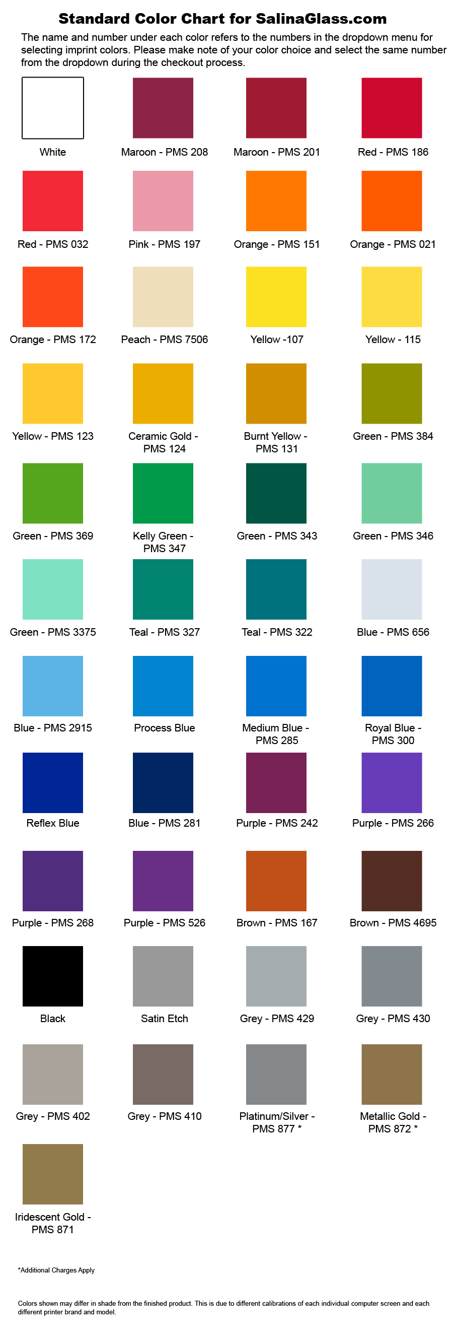 imprinted color chart