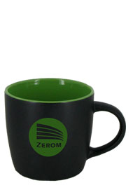 12 oz Effect Two Tone Matte Finish Black Out/Lime Green In Mug