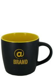 12 oz Effect Two Tone Matte Finish Black Out/Yellow In Mug