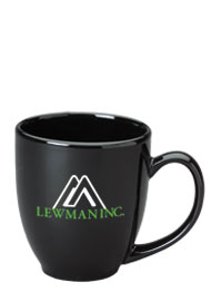 15 oz glossy bistro coffee mugs - black