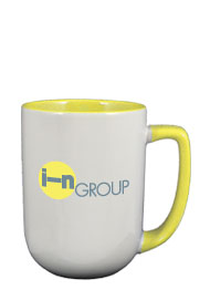 17 oz bakersfield coffee mug - yellow in & handle