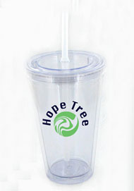 16 oz clear journey travel cup with  lid and straw