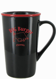 16 oz horizon funnel latte mug - black with red rim