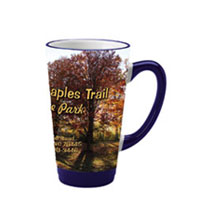 16 oz glossy latte picture mug - cobalt and white