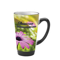 16 oz glossy latte picture mug - black and cobalt