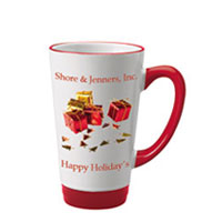 16 oz glossy latte picture mug - red and white