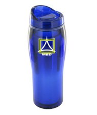 14 oz optima chrome travel mug - blue