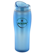 14 oz optima matte surface travel mug - light blue