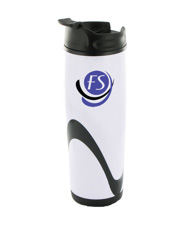14 oz tango travel mug - white