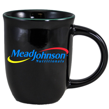 14 oz Salem Gloss Black Custom Mug with Green Halo Accent