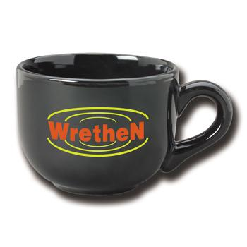 16 oz ceramic latte mug - black