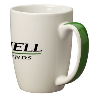 11 oz accent color handle mug - green