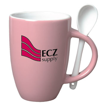 12 oz spoon mug coffee mug w/spoon - pink