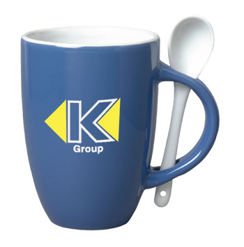 12 oz spoon mug coffee mug w/spoon - celestial blue