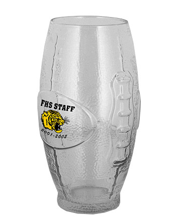 22 oz football glass tumbler