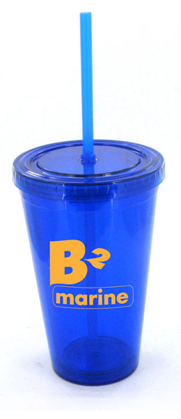16 oz blue journey travel cup with lid and straw
