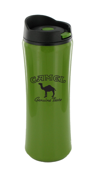 14 oz clicker travel mug - olive