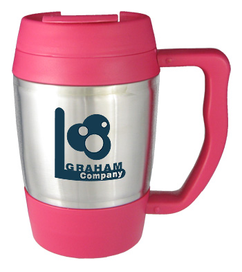 16 oz highlander travel mug with handle - pink